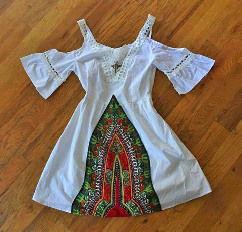 White Lace Dashiki Mini Dress