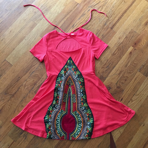 Pyramid Mini Dress - Orange Dashiki