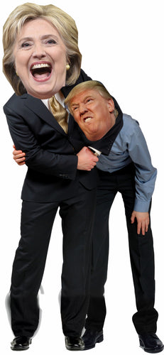 Hillary giving Donald Trump a Headlock Life Size Cardboard Stand up Standee Cutout