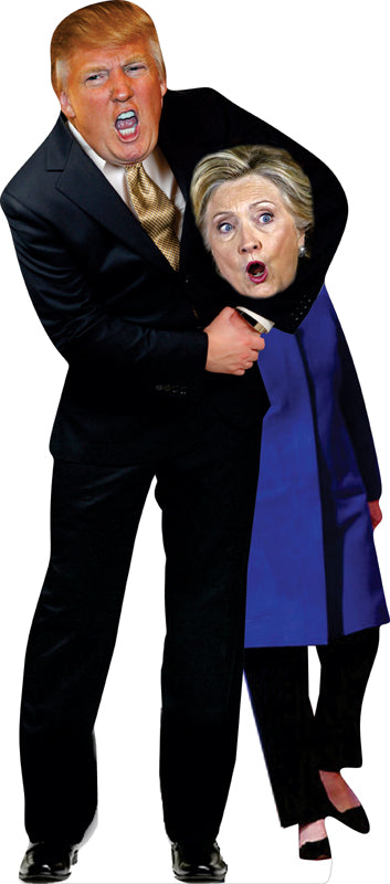 Head Lock her Up Donald Trump / Hillary Clinton Life Size Cardboard Stand up Standee Cutout