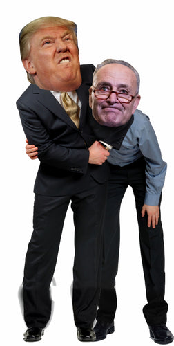 Trump giving Chuck Schumer a Headlock Life Size Cardboard Stand up Standee Cutout