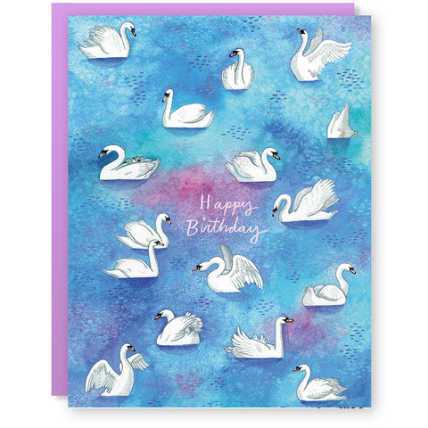 Birthday Swans Card