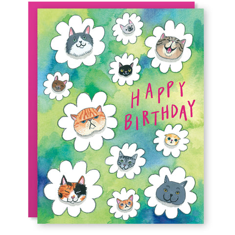 Cat Flowers Card
