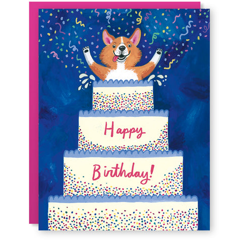 Corgi Birthday Surprise Card