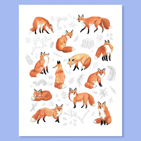 Foxes & Foliage Print