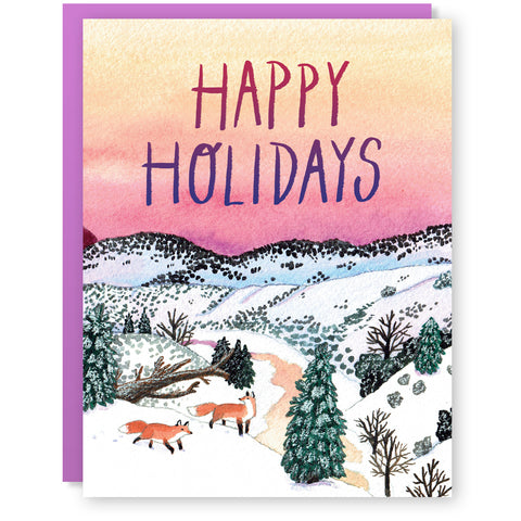Holiday Foxes Card