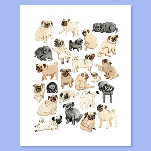Pug Party Print