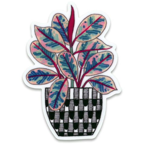 Ruby Rubber Plant Sticker