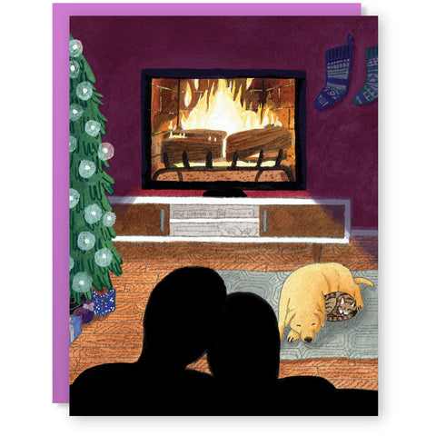 Yule Log & Chill Card