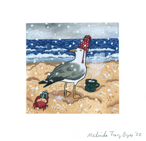 Holiday Seagull Original Gouache Painting