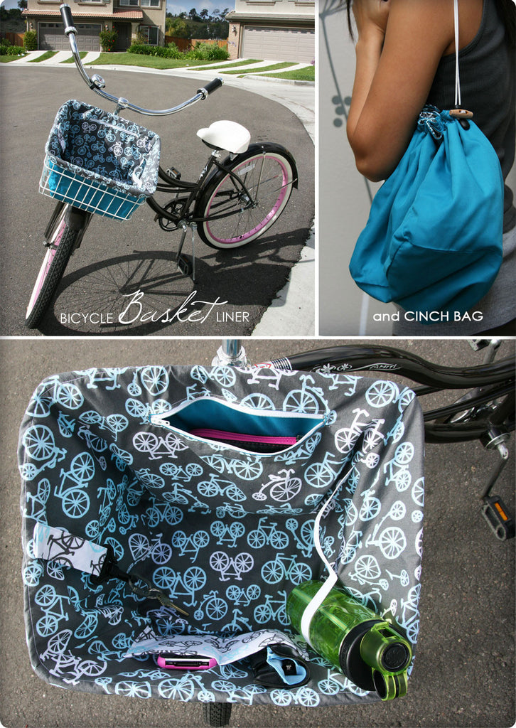 DIY Bicycle Basket Liner and Cinch Bag