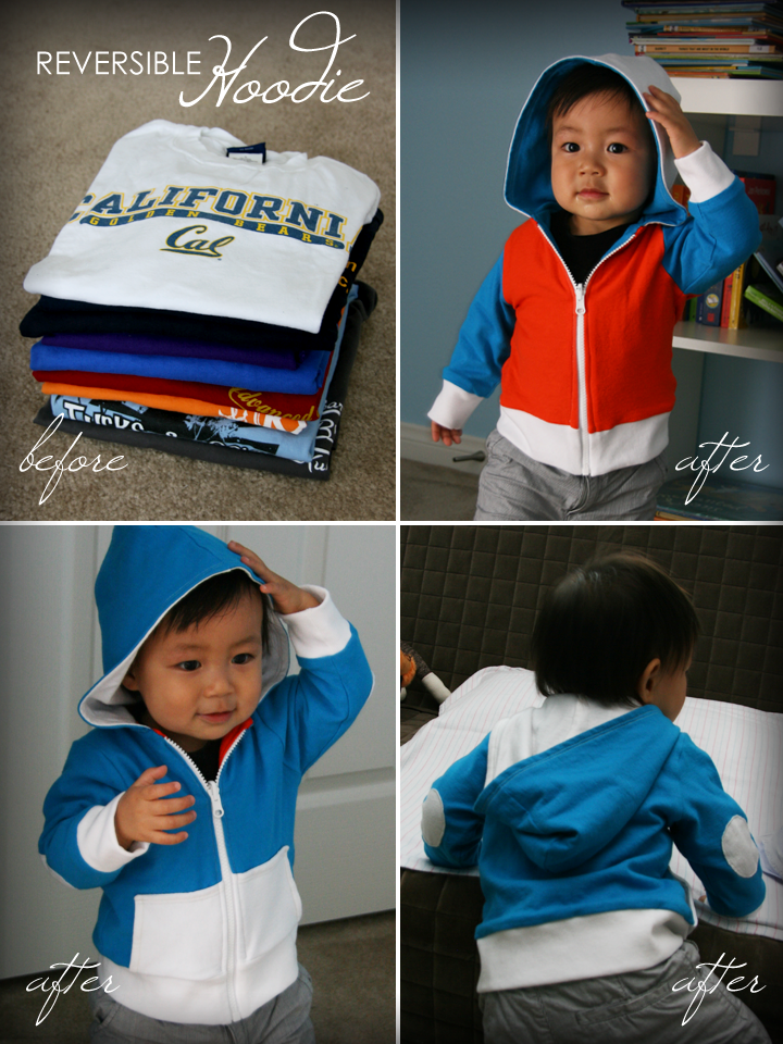 DIY Tutorial - Kids' Reversible Hoodie Made From Old T-Shirts