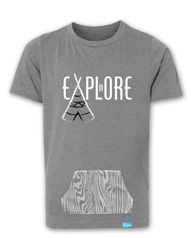 Explore More - Heather Grey - Boy's T-Shirt with Pocket