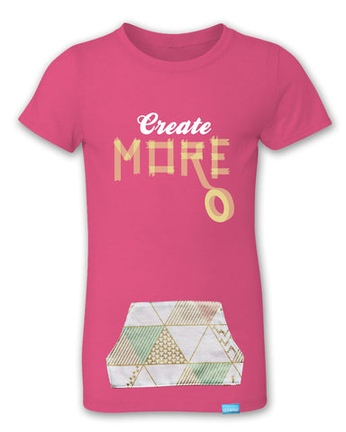 Create More - Raspberry - Girl's T-Shirt with Pocket
