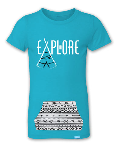 Explore More - Bondi Blue - Girl's T-Shirt with Pocket