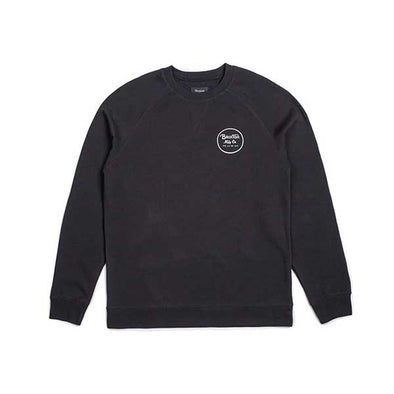Brixton Wheeler Crew Fleece Black/White - Xtreme Boardshop