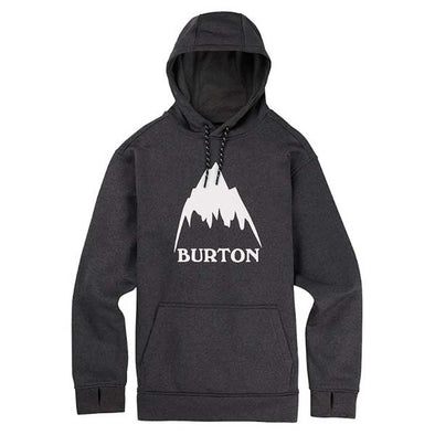 Burton 2019 Men's Oak Pullover Hoodie True Black Heather/Stout White
