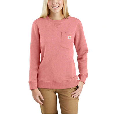 Carhartt Women's Clarksburg Crewneck Pocket Sweatshirt Coral Haze Heather