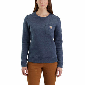 Carhartt Women's Clarksburg Crewneck Pocket Sweatshirt Navy Space Dye