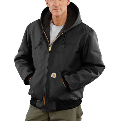Carhartt Duck Quilted Flannel-Lined Active Jacket Black