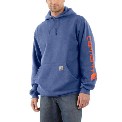 Carhartt Midweight Hooded Logo Sweatshirt Dusk Blue Heather