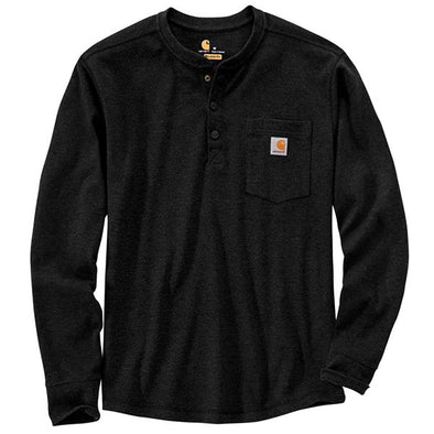 Carhartt Relaxed Fit Heavyweight Long-Sleeve Henley Pocket Thermal T-Shirt Black
