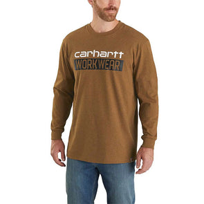 Carhartt Original Fit Heavyweight Long-Sleeve Workwear Graphic T-Shirt Oiled Walnut Heather
