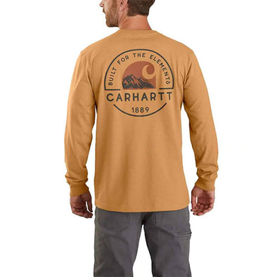 Carhartt Relaxed Fit Heavyweight Long-Sleeve Pocket Graphic T-Shirt Yellowstone Heather