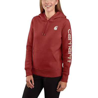 Carhartt Women's Clarkburg Graphic Sleeve Pullover Sweatshirt Dark Barn Red Heather