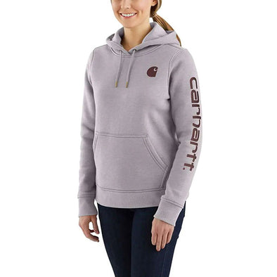 Carhartt Women's Clarkburg Graphic Sleeve Pullover Sweatshirt Gull Gray Heather