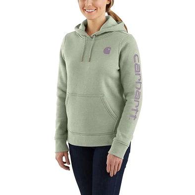 Carhartt Women's Clarkburg Graphic Sleeve Pullover Sweatshirt Tinted Sage Heather