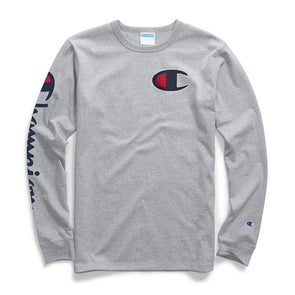 Champion Heritage Long Sleeve Tee Big C & Vertical Logo Oxford Gray