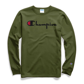 Champion Heritage Long Sleeve Tee Flock Script Logo Cargo Olive