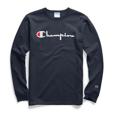 Champion Heritage Long Sleeve Tee Flock Script Logo Navy
