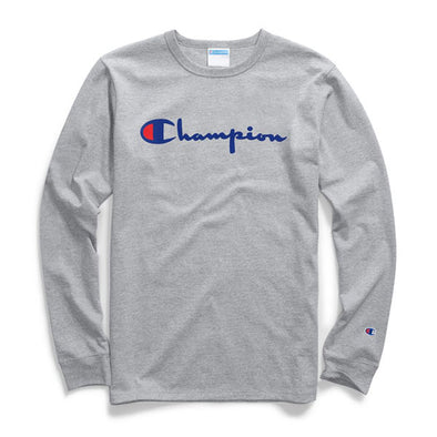 Champion Heritage Long Sleeve Tee Flock Script Logo Oxford Gray