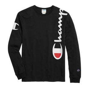 Champion Heritage Long Sleeve Tee Over The Shoulder Logo Black