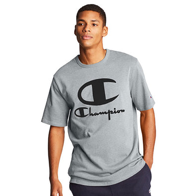 Champion Heritage Tee Furry Logo Oxford Grey