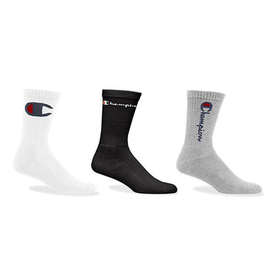 Champion Life Multi Logo Crew Socks 3-Pack White/Black/Oxford Grey