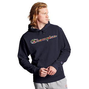 Champion Powerblend Fleece Hoodie Flags Of The World Navy