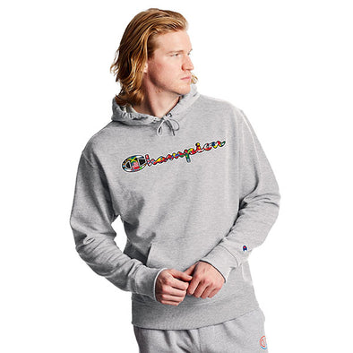 Champion Powerblend Fleece Hoodie Flags Of The World Oxford Grey
