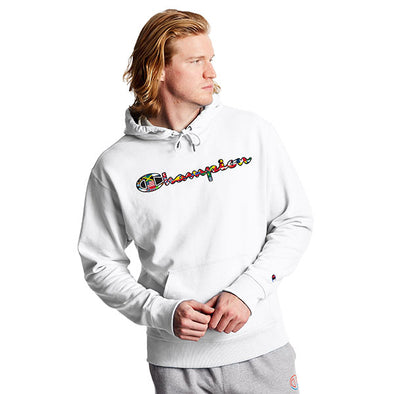 Champion Powerblend Fleece Hoodie Flags Of The World White