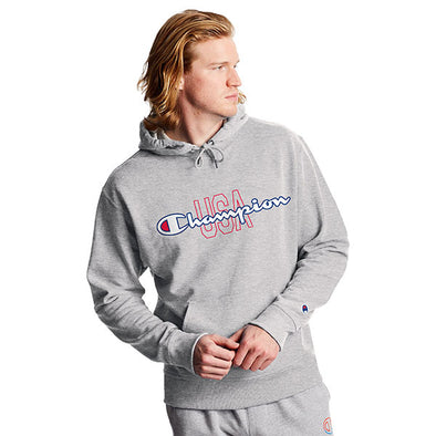 Champion Powerblend Fleece Hoodie USA & Script Logo Oxford Grey