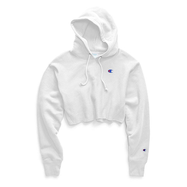 Champion Women's Oversized Reverse Weave Cropped Hoodie White