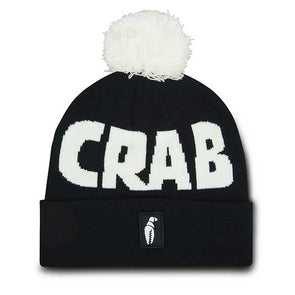 Crab Grab Pom Beanie Black/White