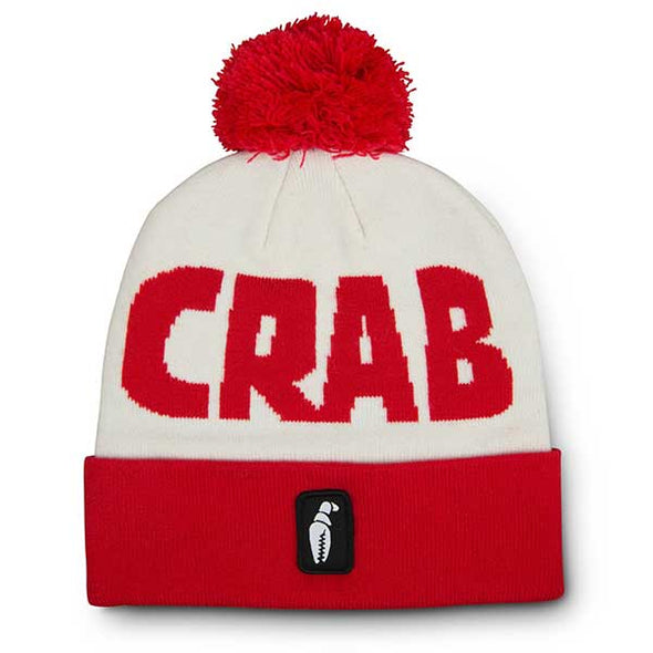 Crab Grab Pom Beanie White/Red