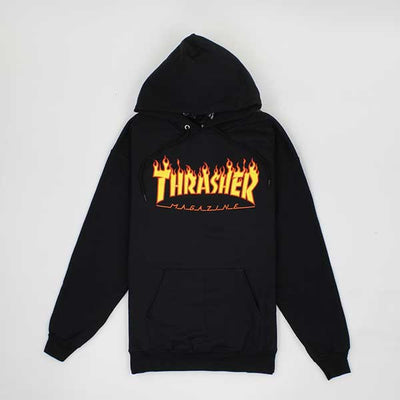 Thrasher Flame Logo Hood Black - Xtreme Boardshop