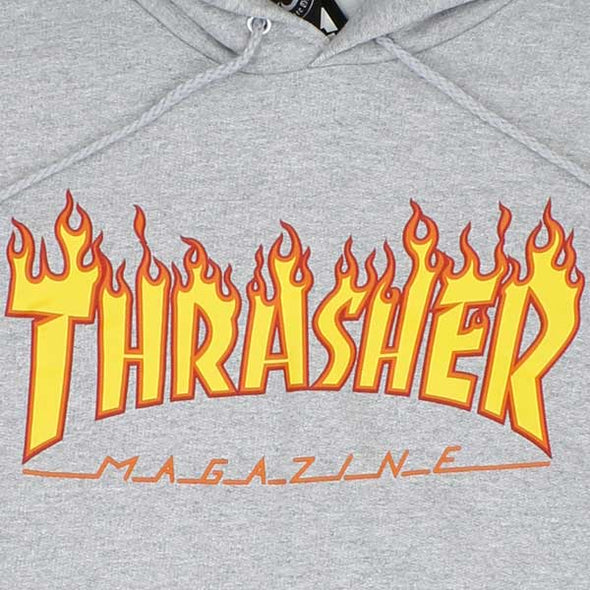 Thrasher Flame Logo Hood Grey - Xtreme Boardshop