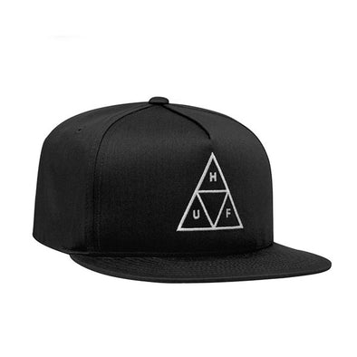 HUF Essentials Triple Triangle Snapback Hat Black