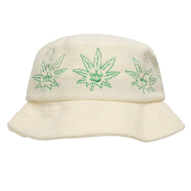 HUF Green Buddy Terry Cloth Bucket Hat Natural