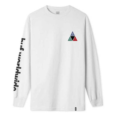HUF Prism Triple Triangle Long Sleeve Tee White